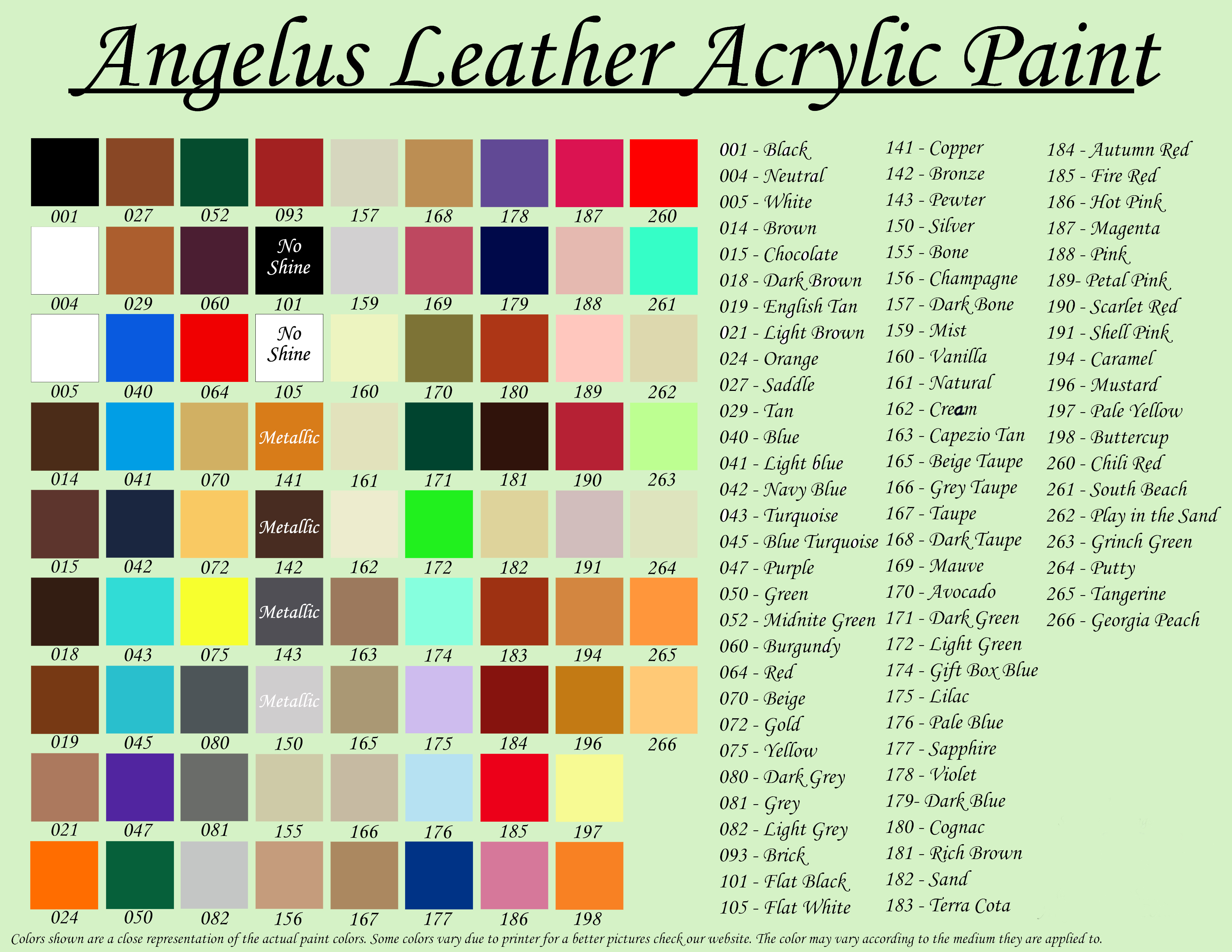 Angelus Color Chart Angelus Leather Paint