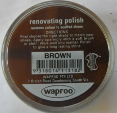 Brown Boot Polish Waproo Shoe Polish Waproo Boot Polish Waproo Renovating Polish Waproo Polish Shoe Cream