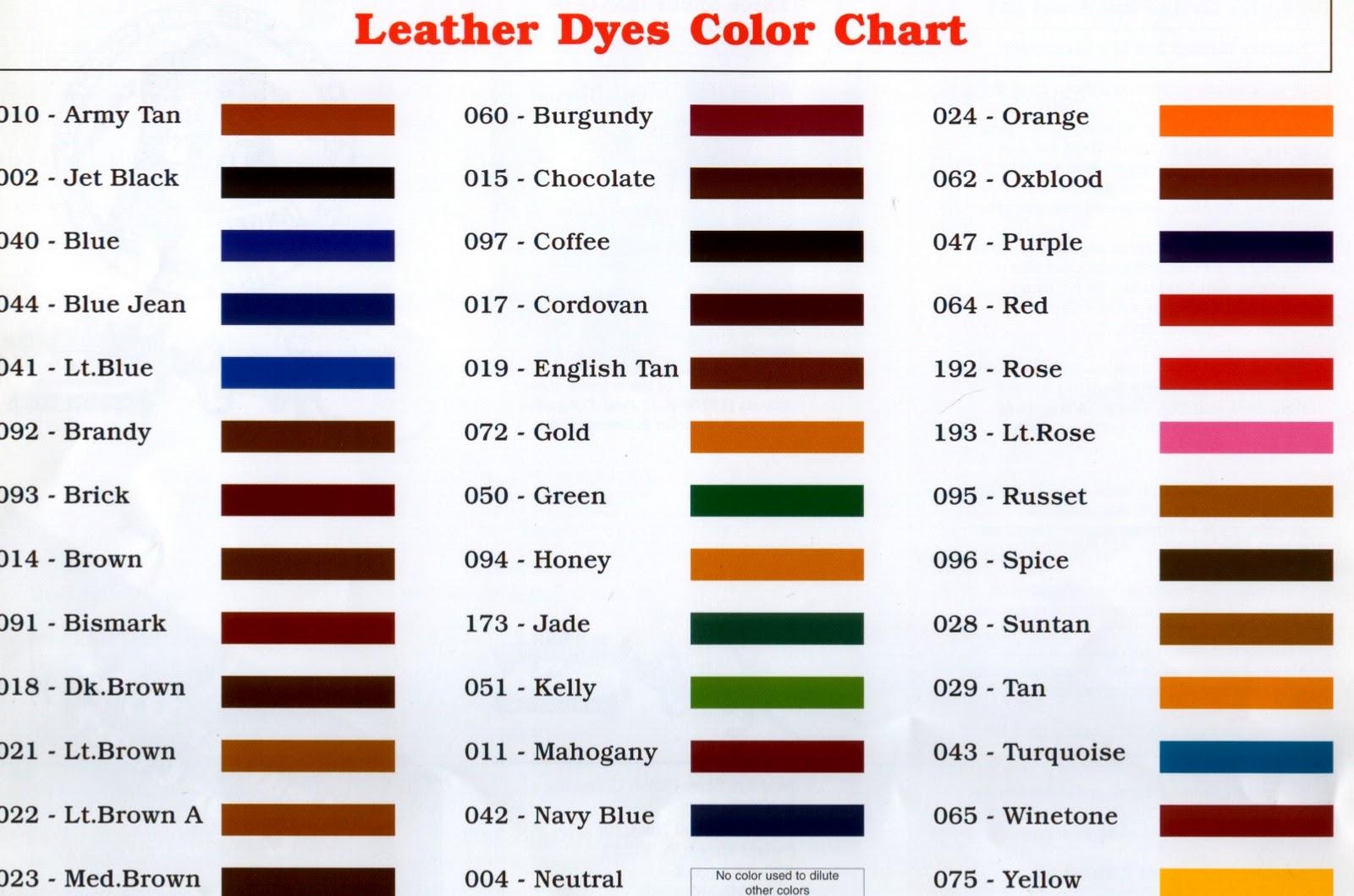 Angelus Suede Shoe Dye Colour Chart